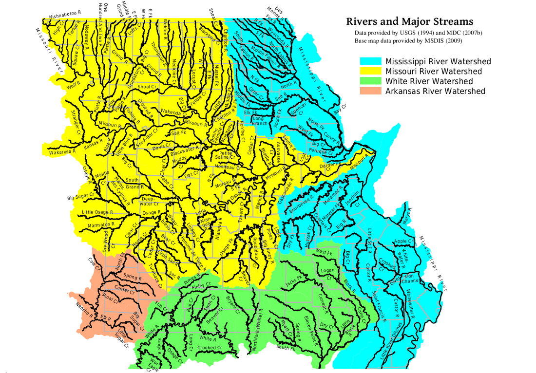 MOHAP Missouri Major Rivers Map - Map of missiouri
