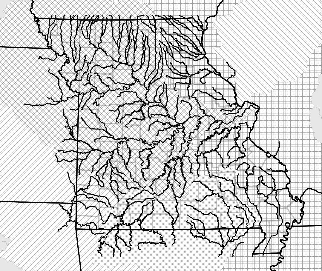 Missouri Map With Rivers.Mohap Missouri Major Rivers Map