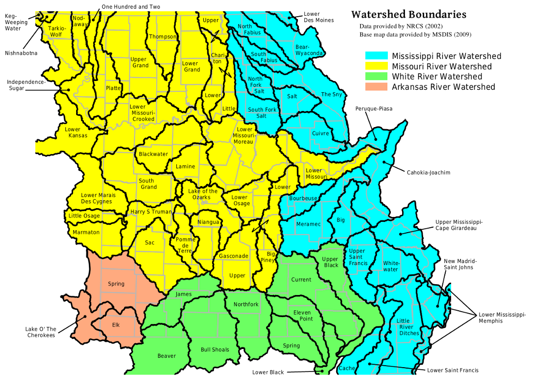 MOHAP Missouri Major Watersheds Map - Us watershed map